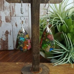 Colorful Sea Sediment Jasper Earrings